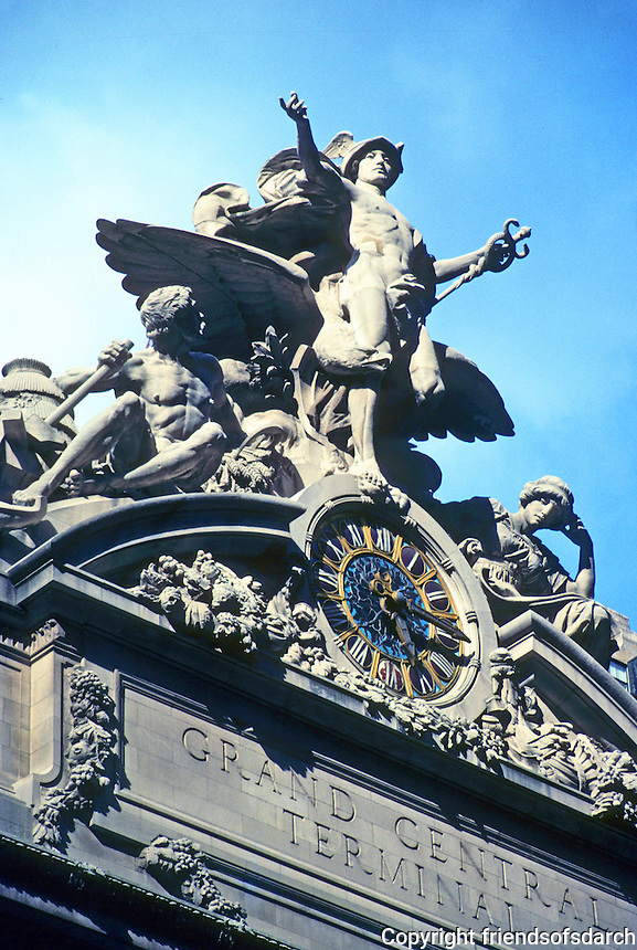 New York: Grand Central Station--Clock & Sculptural Group by Jules Coutan. Photo '91.