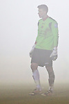 Picture by Arron Gent/Extreme Aperture Photography +44 7545 970036.18/02/2013.Clark Masters of Havant & Waterville is seen through the fog  during the Blue Square Bet Blue Square South  League match at Melbourne Stadium, Chelmsford, Essex.