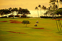 Two golf carts meander over the greens at an oceanfront golf course on Kaanapali beach on Maui.