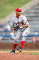 Starting pitcher Hassan Pena (34) of the Potomac Nationals in action at Ernie Shore Field in Winston-Salem, NC, Saturday August 9, 2008. (Photo by Brian Westerholt / Four Seam Images)