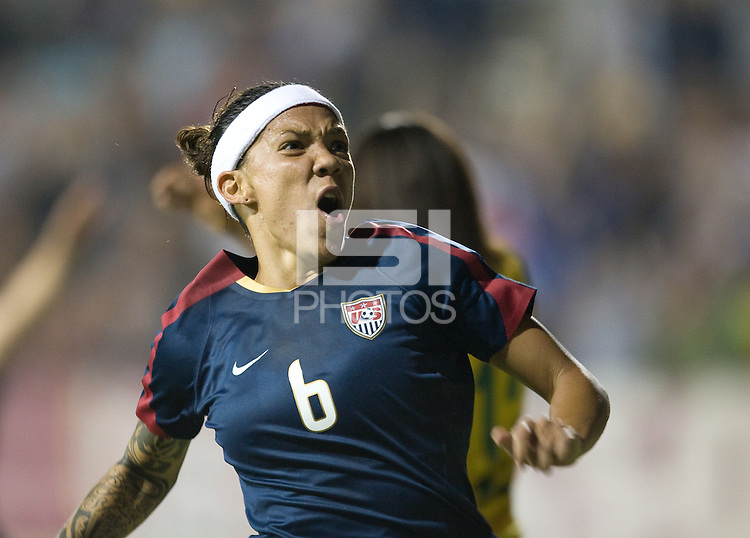 Natasha Kai celebrates her goal to defeat Brazil 1-0, in San Diego, Calif., Wednesday, July 16, 2008.