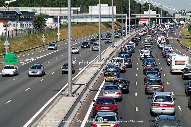 Heavy traffic jam on A69 Highway during an August public holiday, Talence, Bordeaux, France.