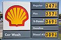 A Shell Gas Price List in 2007. Mountain View, California, USA
