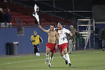 12 December 2008: Graham Zusi (left) of Maryland is joined by teammate Matt Kassel (8) in celebrating Zusi's game winning goal.  The University of Maryland Terrapins defeated the St. John's University Red Storm 1-0 during the second sudden death overtime at Pizza Hut Park in Frisco, TX in an NCAA Division I Men's College Cup semifinal game.