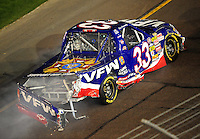 Nov. 7, 2008; Avondale, AZ, USA; Nascar Craftsman Truck Series driver Ron Hornaday Jr after crashing during the Lucas Oil 150 at Phoenix International Raceway. Mandatory Credit: Mark J. Rebilas-
