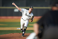 Wake Forest Demon Deacons starting pitcher Colin Peluse (8) in action against the North Carolina State Wolfpack at David F. Couch Ballpark on April 18, 2019 in  Winston-Salem, North Carolina. The Demon Deacons defeated the Wolfpack 7-3. (Brian Westerholt/Four Seam Images)