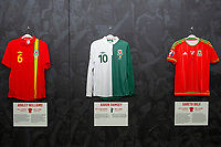 Wales shirts displayed at The Art of the Wales Shirt Exhibition at St Fagans National Museum of History in Cardiff, Wales, UK. Monday 11 November 2019