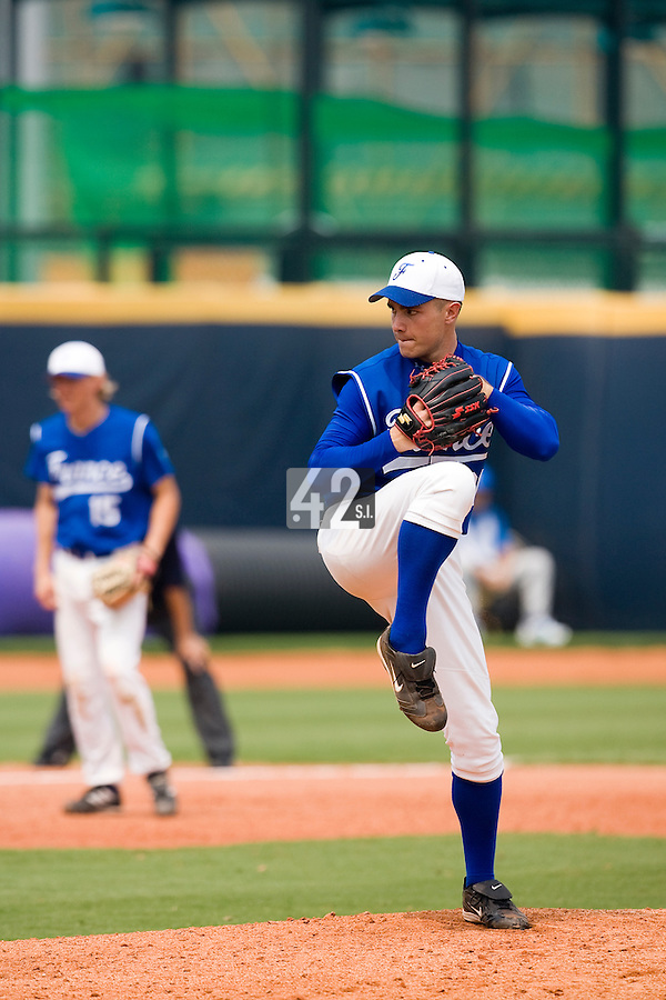 18 August 2007: Pitcher #21 Patrick Carlson pitches during the China 5-1 victory over France in the Good Luck Beijing International baseball tournament (olympic test event) at the Wukesong Baseball Field in Beijing, China.