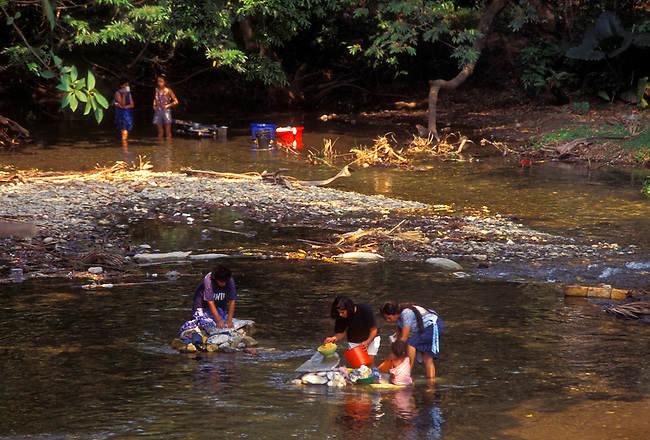 Washing clothes in Motagua River near Dona Maria, Zacapa Department, Guatemala, Central America