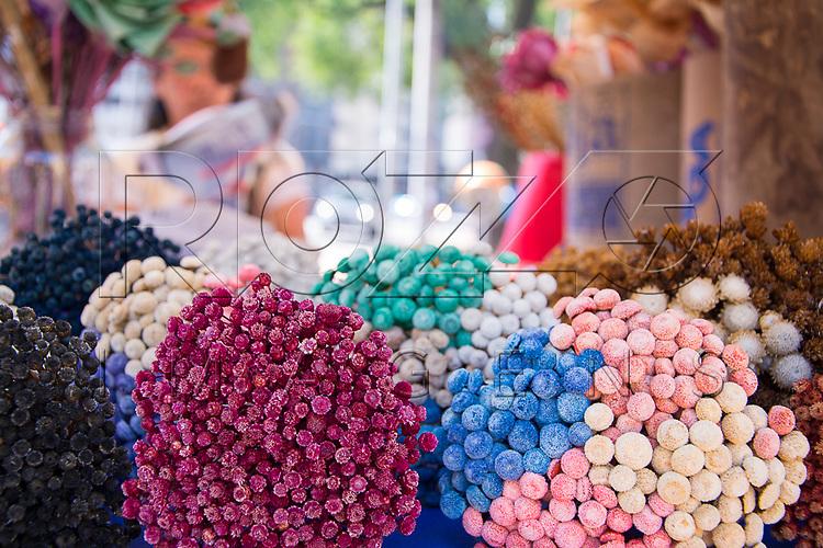 Comércio de flores do cerrado na Feira de artesanato, Praça da República, São Paulo - SP, 07/2016.