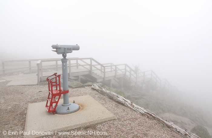 Appalachian Trail - The summit of Mount Washington during the summer months engulfed by fog in the White Mountains, New Hampshire USA.