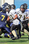 Santa Monica, CA 10/17/13 - Justin Jimena (Peninsula #70) in action during the Peninsula vs Santa Monica Junior Varsity football game at Santa Monica High School.
