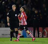 Lincoln City's Tom Pett reacts after his penalty miss<br /> <br /> Photographer Chris Vaughan/CameraSport<br /> <br /> The EFL Checkatrade Trophy Northern Group H - Lincoln City v Wolverhampton Wanderers U21 - Tuesday 6th November 2018 - Sincil Bank - Lincoln<br />  <br /> World Copyright © 2018 CameraSport. All rights reserved. 43 Linden Ave. Countesthorpe. Leicester. England. LE8 5PG - Tel: +44 (0) 116 277 4147 - admin@camerasport.com - www.camerasport.com
