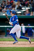 South Bend Cubs third baseman Zack Short (3) follows through on a swing during a game against the Kane County Cougars on May 3, 2017 at Four Winds Field in South Bend, Indiana.  South Bend defeated Kane County 6-2.  (Mike Janes/Four Seam Images)