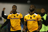 Ibby Akanbi (right) celebrates Maidstone's victory at the final whistle during Maidstone United vs Torquay United, Emirates FA Cup Football at the Gallagher Stadium on 9th November 2019