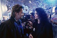 Actor Michael Douglas with movie studio head Sherry Lansing, Los Angeles, February 1989. Photo by John G. Zimmerman.
