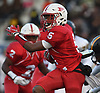 Jordan Jackson #2 of Freeport rushes for a long gain to set up a first and goal from Uniondale's 2-yard line in the first quarter of the Nassau County football Conference I semifinals at Shuart Stadium in Hempstead on Saturday, Nov. 10, 2018.