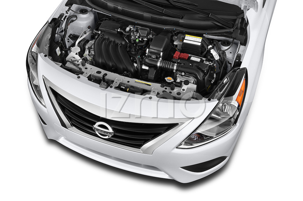 Car stock 2015 Nissan Versa 1.6 Sv Cvt 4 Door Sedan engine high angle detail view