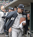 Masahiro Tanaka (Yankees), APRIL 23, 2015 - MLB : Masahiro Tanaka of the New York Yankees in the dugout before the Major League Baseball game against the Detroit Tigers at Comerica Park in Detroit, Michigan, United States. (Photo by AFLO)
