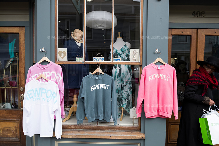 """Shirts reading """"Newport"""" were on display outside Chez Shell on Thames Street in Newport, Rhode Island, on Wed., April 19, 2017."""