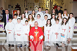 Pupils from Cromane NS with Bishop Ray Browne at their Confirmation in Killorglin on Tuesday front row l-r: Con Counihan, Kaiye O'Flaherty, Lorcan Coffey, Sadibh Shaugnessy, seamus Murphy, Shannon Foley. Middle row: Darragh McKeefrey, Ellen Morgan, Patrice McKenna-Hoare, Melissa Cahillane, Cora Joy, Sarah Casey. Back row: Ava Griffin, Sarah O'Shea, Roisin Hayes, Aidan McCarthy, Jack O'Sullivan, Sinead O'Neill and Chloe Teahan