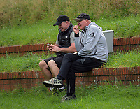 Dan and Mike Cron. Hurricanes rugby union training at Rugby League Park in Wellington, New Zealand on Wednesday, 19 April 2017. Photo: Dave Lintott / lintottphoto.co.nz