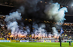 Solna 2015-10-04 Fotboll Allsvenskan AIK - Malm&ouml; FF :  <br /> AIK:s supportrar med ett tifo och bengaler inf&ouml;r matchen mellan AIK och Malm&ouml; FF <br /> (Foto: Kenta J&ouml;nsson) Nyckelord:  AIK Gnaget Friends Arena Allsvenskan Malm&ouml; MFF supporter fans publik supporters tifo r&ouml;k