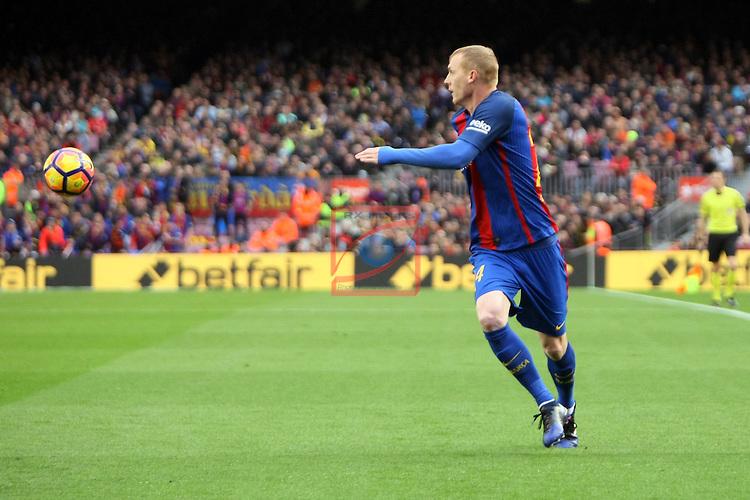 League Santander 2016/2017. Game: 21.<br /> FC Barcelona vs Athletic Club: 3-0.<br /> Jeremy Mathieu.