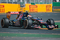 March 14, 2014: Daniil Kvyat (RUS) from the Scuderia Toro Rosso team exits turn four during practice session one at the 2014 Australian Formula One Grand Prix at Albert Park, Melbourne, Australia. Photo Sydney Low.