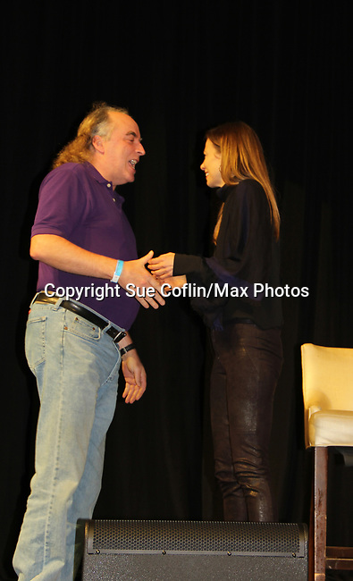 General Hospital's actor Tamara Braun and fan on stage - on October 5, 2019 at the Hollywood Casino, Columbus, Ohio with a Q & A and a VIP meet and greet. (Photo by Sue Coflin/Max Photo)