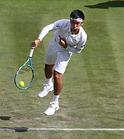 Yuichi Sugita (JPN) during his match against Rafael Nadal (ESP) in their Gentleman's Singles First Round match<br /> <br /> Photographer Rob Newell/CameraSport<br /> <br /> Wimbledon Lawn Tennis Championships - Day 2 - Tuesday 2nd July 2019 -  All England Lawn Tennis and Croquet Club - Wimbledon - London - England<br /> <br /> World Copyright © 2019 CameraSport. All rights reserved. 43 Linden Ave. Countesthorpe. Leicester. England. LE8 5PG - Tel: +44 (0) 116 277 4147 - admin@camerasport.com - www.camerasport.com