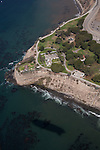 Aerial view of Pt. Fermin Lighthouse in San Pedro, Los Angeles, CA from the airship Eureka.