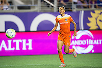 Orlando, Florida - Saturday, April 23, 2016: Houston Dash defender Poliana Barbosa (2) chases a through ball during an NWSL match between Orlando Pride and Houston Dash at the Orlando Citrus Bowl.