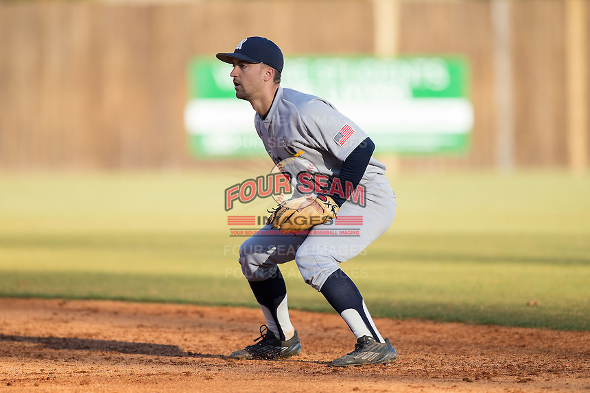 Rice Owls second baseman Ford Stainback (11) on defense against the Charlotte 49ers at Hayes Stadium on March 6, 2015 in Charlotte, North Carolina.  The Owls defeated the 49ers 4-2.  (Brian Westerholt/Four Seam Images)