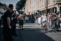 More than 12 minutes behind (all) the rest, Olivier Le Gac (FRA/FDJ) crosses the finish line completly drained (after crashing the day before) and making him the new 'Lanterne Rouge' of this TdF<br /> <br /> 104th Tour de France 2017<br /> Stage 3 - Verviers › Longwy (202km)