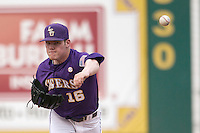 LSU Tigers pitcher Jared Poche #16 warms up before his start in the Southeastern Conference baseball game against the Georgia Bulldogs on March 22, 2014 at Alex Box Stadium in Baton Rouge, La. The Tigers defeated the Bulldogs 2-1. (Andrew Woolley/Four Seam Images)