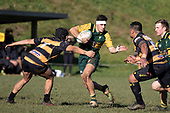 Jamie Orr watches Ki Anufe as he makes a run past Chay Mackwood. Counties Manukau Premier Club Rugby game between Bombay and Pukekohe, played at Bombay on Saturday June 30th 2018.<br /> Bombay won the game 24 - 14 after leading 24 - 0 at halftime.<br /> Bombay 24 - Sepuloni Taufa, Tulele Masoe, Chay Mackwood, Liam Daniela tries, Ki Anufe 2 conversions.<br /> Pukekohe Mitre 10 Mega 14 - Joshua Baverstock, Gregor Christie tries; Cody White 2 conversions.<br /> Photo by Richard Spranger.