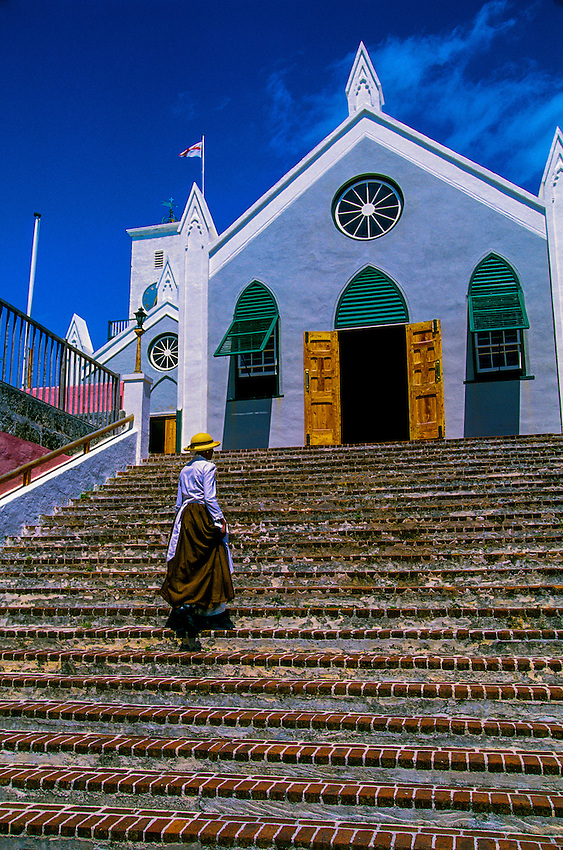 Bermuda, Woman, Church, people, Costume, St. Peter's Church, St. George, Travel, Analog