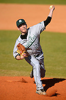Slippery Rock pitcher Christian Kerns (28) during a game against the Wayne State Warriors on March 15, 2013 at Chain of Lakes Park in Winter Haven, Florida.  (Mike Janes/Four Seam Images)