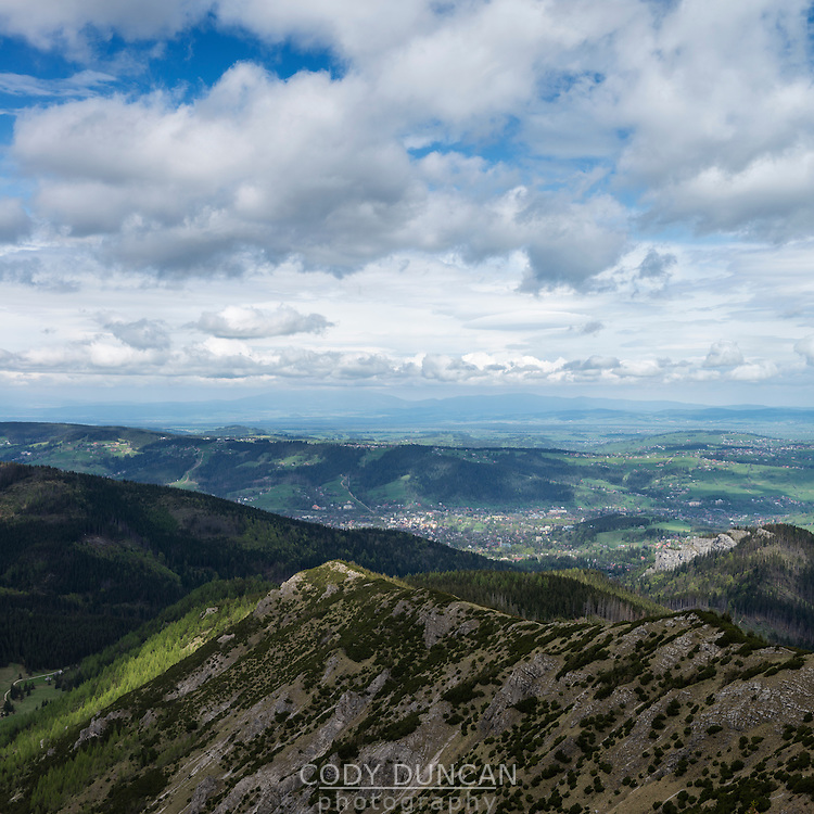 View towards Zakopane, Tatra mountains, Poland