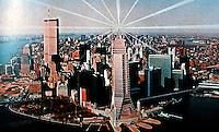 Helmut Jahn: South Ferry Plaza. New York Photo-Montage. (Architectural Design 56 6-1986 p.29)