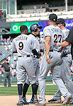 (L-R) Dee Gordon, Ichiro Suzuki, Giancarlo Stanton, Chris Johnson (Marlins),<br /> AUGUST 7, 2016 - MLB :<br /> Ichiro Suzuki of the Miami Marlins is congratulated by his teammates Dee Gordon, Giancarlo Stanton and Chris Johnson at third base after hitting a triple for his 3000th career hit in MLB in the seventh inning during the Major League Baseball game against the Colorado Rockies at Coors Field in Denver, Colorado, United States. (Photo by Thomas Anderson/AFLO) (JAPANESE NEWSPAPER OUT)