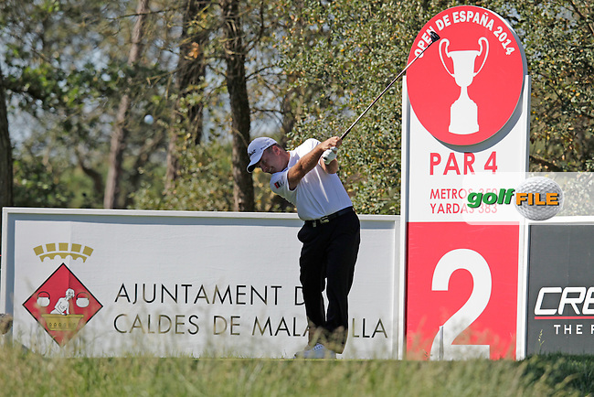 Thomas Levet (FRA) tees off the 2nd tee during Thursday's Round 1 of the 2014 Open de Espana held at the PGA Catalunya Resort, Girona, Spain. Wednesday 15th May 2014.<br /> Picture: Eoin Clarke www.golffile.ie