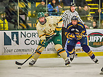 29 December 2013:  University of Vermont Catamount Forward Chris McCarthy, a Senior from Collegeville, PA, looks to center a pass in the second period against the Canisius College Golden Griffins at Gutterson Fieldhouse in Burlington, Vermont. The Catamounts defeated the Golden Griffins 6-2 in the 2013 Sheraton/TD Bank Catamount Cup NCAA Hockey Tournament. Mandatory Credit: Ed Wolfstein Photo *** RAW (NEF) Image File Available ***