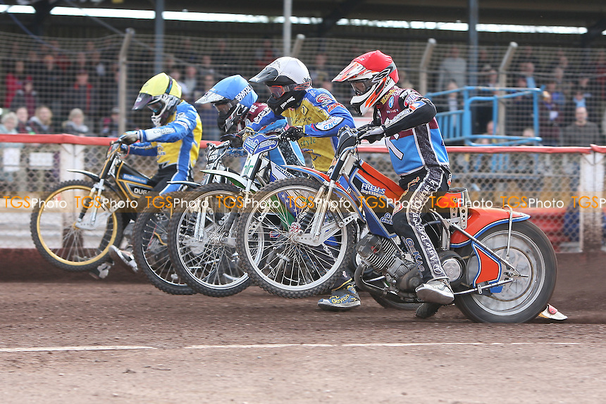 Heat 13: Peter Karlsson (red), Lee Richardson (blue), Timo Lahti (white) and Lewis Bridger off the start - Lakeside Hammers vs Eastbourne Eagles - Sky Sports Elite League Speedway at Arena Essex Raceway, Purfleet - 06/04/12 - MANDATORY CREDIT: Gavin Ellis/TGSPHOTO - Self billing applies where appropriate - 0845 094 6026 - contact@tgsphoto.co.uk - NO UNPAID USE.