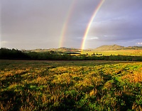 Rainbow and pastureland. Near Alpine, Oregon.