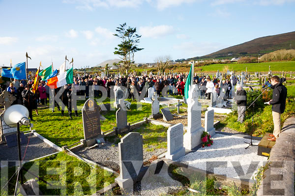 Padraig Garvey speaking at the graveside of Captain Maurice O'Neill (Óglaigh na hÉireann) from Letter, Cahersiveen who was remembered on the 75th anniversary of his execution in Mountjoy Gaol on Sunday, pictured here at Keelavarnogue Cemetery on Sunday a Colour Party and spectators.