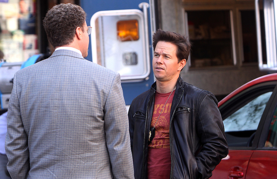 Will Ferrell and Mark Walhberg on the set of The Other Guys in ChinaTown New York on September 25, 2009. (AP Photo/Donald Traill)
