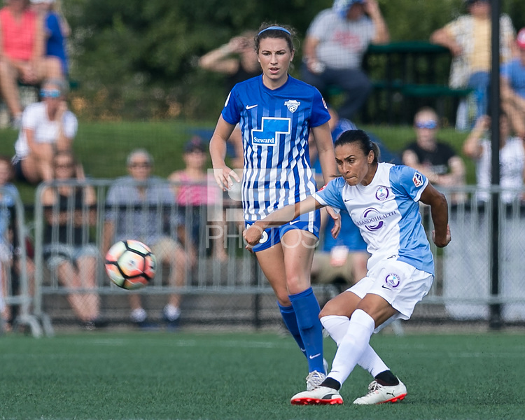 Boston, MA - Saturday August 19, 2017: Morgan Andrews, Marta Vieira Da Silva during a regular season National Women's Soccer League (NWSL) match between the Boston Breakers (blue) and the Orlando Pride (white/light blue) at Jordan Field. Orlando Pride defeated Boston Breakers, 2-1.