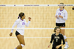 The University of Washington volleyball team defeats Idaho 3-1 at Alaska Airlines Arena in Seattle on September 2, 2016. (Photography by Scott Eklund/Red Box Pictures)